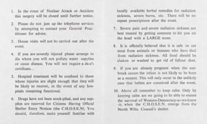 Leaflet satirizing government advice on nuclear war.