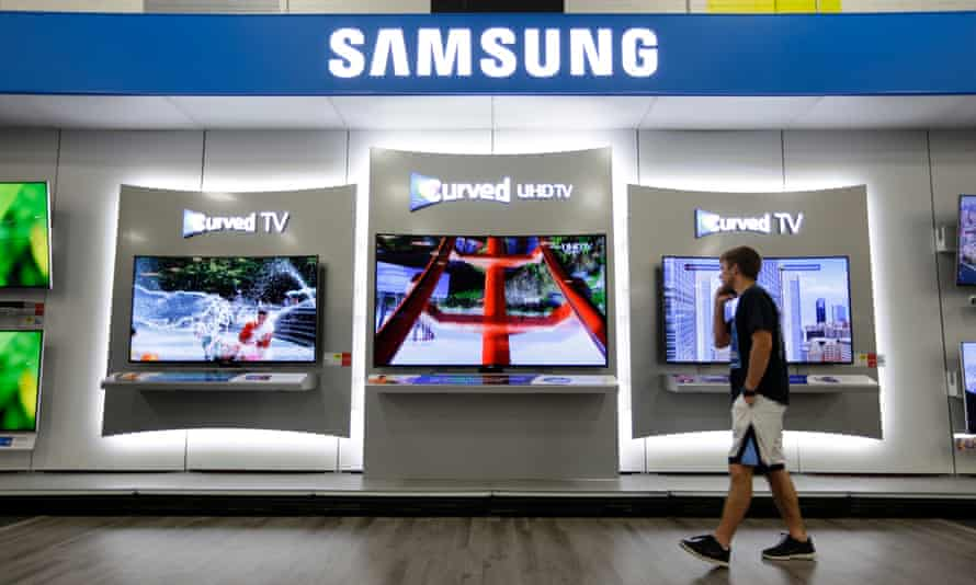 Samsung products on display. A factory in Brazil has been looted by thieves who carried away 40,000 mobile phones and computers