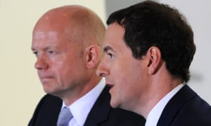 William Hague and George Osborne speaking during a meeting with Indian business leaders in Mumbai yesterday.