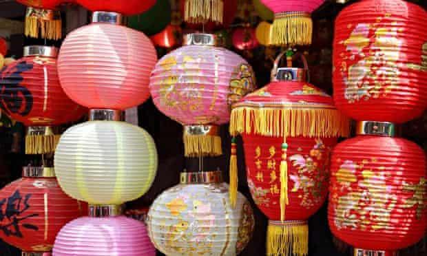 Chinese lanterns in street market, Stanley, HK