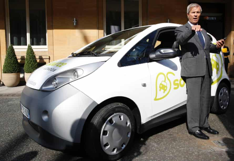 Bollore chief executive Vincent Bollore with one of the electric cars he plans to introduce to London.