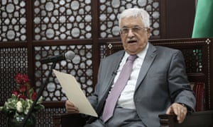 Palestinian President Mahmoud Abbas at his office in the West Bank city of Ramallah