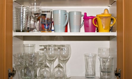 Open Kitchen Cupboard Cupboards Containing Glasses and Crockery