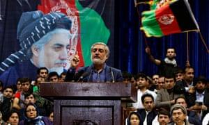 Abdullah Abdullah speaks to supporters