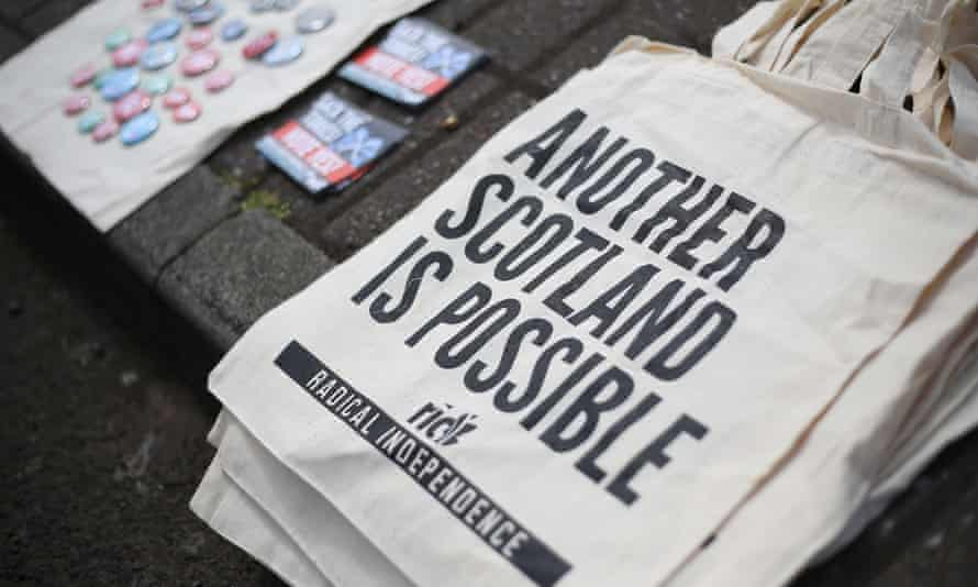 Canvas tote bags for sale by Radical Independence Campaign activists while they canvass in favour of Scottish independence in Glasgow