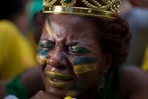 Tears at a fan-fest in Sao Paulo.