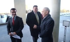 Senators Sam Dastyari, Glenn Lazarus and Bob Day arrive for senate this morning, due to start at 9.30am.
