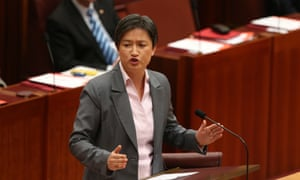 Penny Wong in the senate this morning speaking - or rather shouting - against the government's attempt to gag the carbon tax repeal debate.