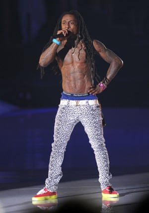 Rapper Lil Wayne wore women's jeggings to perform at the 2011 MTV Video Music Awards at Nokia Theatre L.A. LIVE on August 28, 2011 in Los Angeles, California.