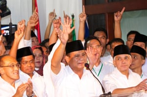 Indonesian presidential candidate Prabowo Subianto declares victory, although the vote counting is not complete.