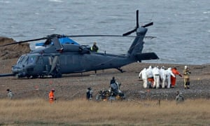 Helicopter crash on the coast near the village of Cley-next-the-sea in Norfolk
