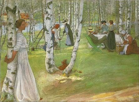 Carl Larsson, Breakfast in the Open 1910  Copyright free / Wikipedia