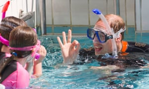 The Duke of Cambridge snorkels with British Sub-Aqua Club at a swimming pool in London