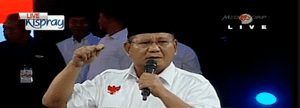 Presidential candidate Prabowo Subianto's televised speech.