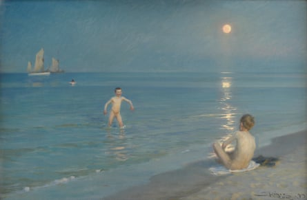 Boys bathing on a summer evening at Skagen Beach) Date 1901 - 1909