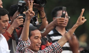 Indonesian presidential candidate Joko Widodo delivers his victory speech in Jakarta. His opponent has also claimed victory in the election.