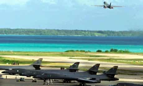 US bomber takes off from a base on Diego Garcia
