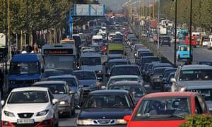 Heavy traffic rolling in Tirana.