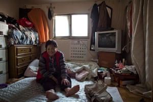 Luo In-soon, aged 72, inside her home. Most of the elderly relatives live without any form of state assistance.