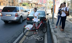 A blocked cycle lane in Tirana.