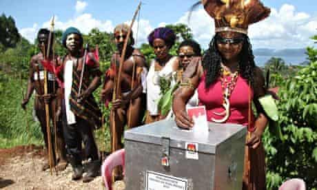 Papuans vote in Jayapura in the remote eastern Indonesian province.