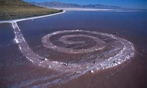 Spiral Jetty by Robert Smithson exposed 2002 great salt lake Utah