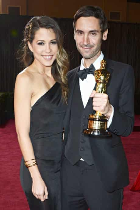Bendjelloul and his partner, film-maker Brittany Huckabee, at the Oscars in 2013.