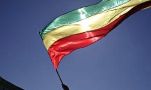 Ethiopian man waves Ethiopian flag