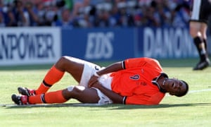 Patrick Kluivert against Argentina in 1998. This wasn't his goal celebration.