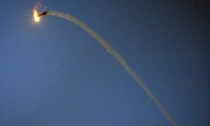 A Palestinian Hamas-made M75 missile flies over Gaza City. israel