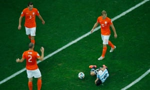 Argentina's midfielder Enzo Perez goes down and is awarded a free-kick on the edge of the area.