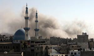 Smoke rises following an Israeli air strike in Rafah, Palestinian Territory. gaza