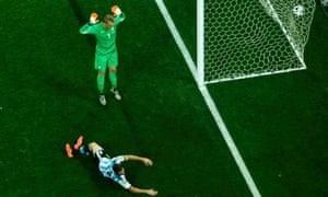 Higuain rattles the side-netting.