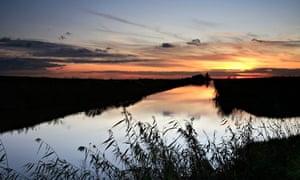 River sunset in Cambridgeshire