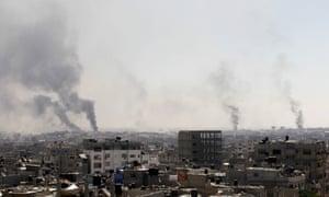 Smoke from Israeli shelling east of Rafah in the southern Gaza Strip