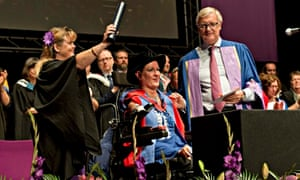 Alison Lapper receiving her honorary doctorate from the University of Brighton