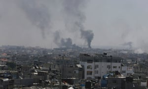 Smoke rises following what witnesses said were Israeli air strikes in Rafah.