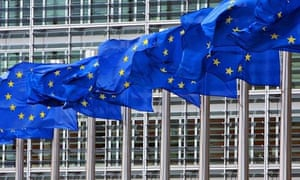 EU flags fly outside the European commission