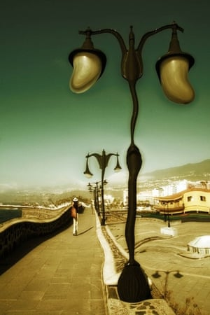 surrealist path and lamposts