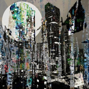 digital photomontage of a cityscape with trees