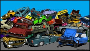 colourful cars crushed and piled on top of one another