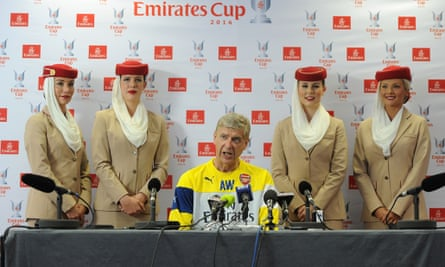 The Arsenal manager, Arsène Wenger, attends a press conference at the club's London Colney training base.