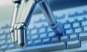 Robotic hand typing on keyboard
