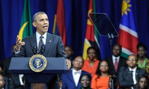 Barack Obama addresses the Washington Fellowship for Young African Leaders in Washington DC in July.