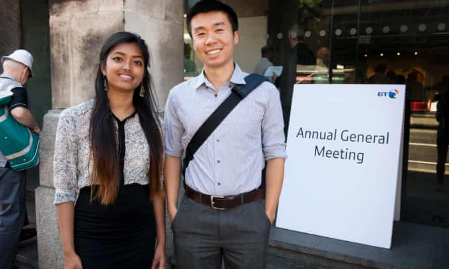At BT's 2014 AGM, Aditi Gupta (left) asked about BT's role in covert surveillance by the British government, and Kevin Lo asked about their cables enabling US drone strikes.
