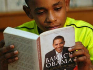 Ghanaian Felix Agyaba Afriyie reads Barack Obama's book ahead of the US president's trip to Africa in 2009.