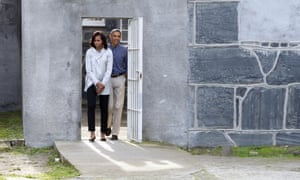 Barack and Michelle Obama tour Robben Island where South African anti-apartheid leader Nelson Mandela was once jailed.