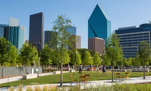 The Dallas skyline from the Klyde Warren Park Arts District in Texas.