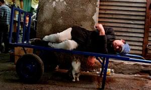 A man has a siesta in Asuncion, Paraguay