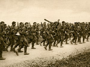 The East Yorkshire Regiment going to the trenches.